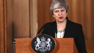 Theresa May prononce une allocution, le 2 avril 2019.