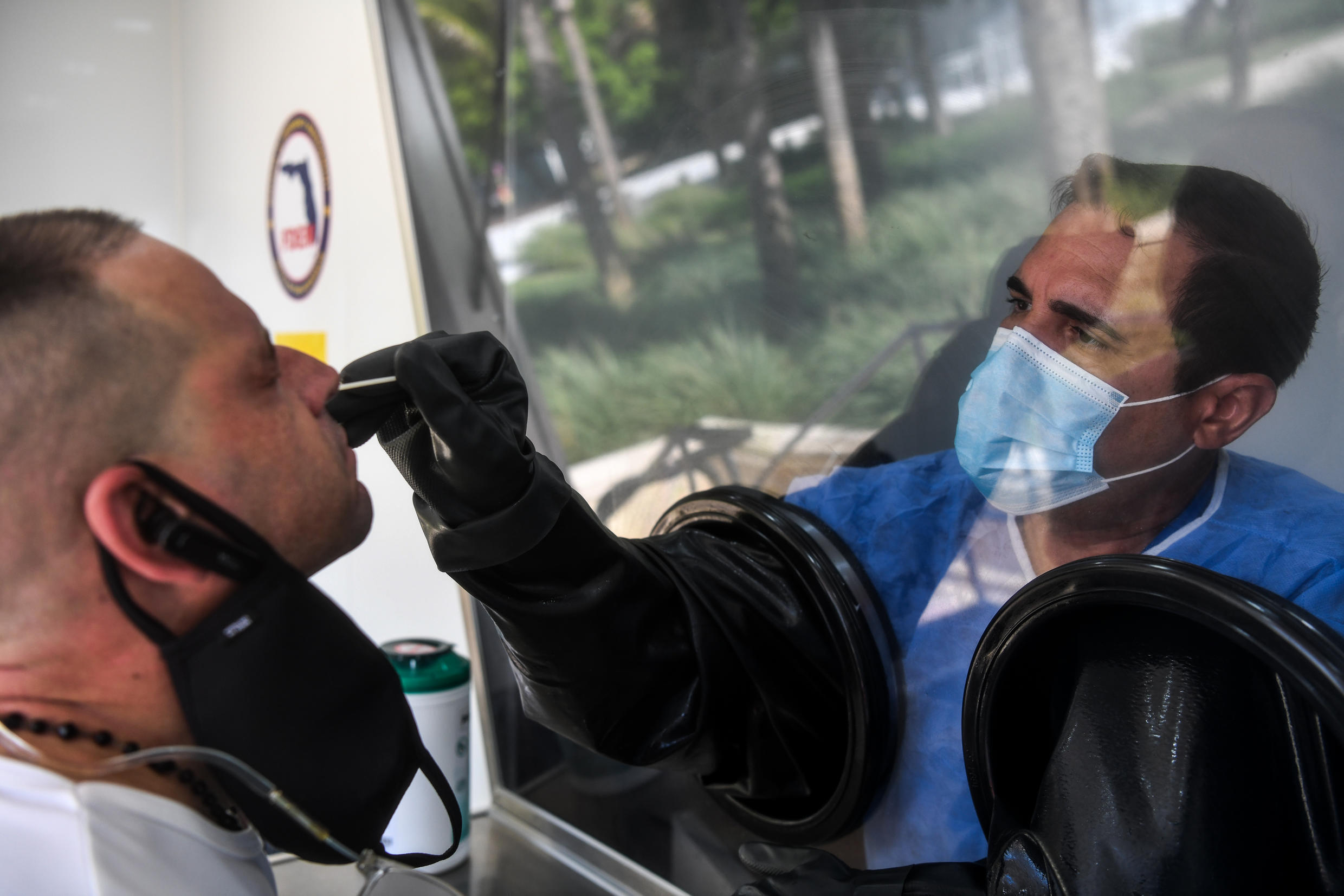 A man takes a Covid-19 test on July 24, 2020 in Miami Beach, Florida.