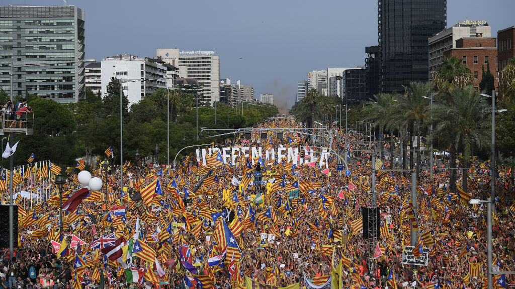 La manifestation des séparatistes dans les rues de Barcelone, le 11 septembre 2018.