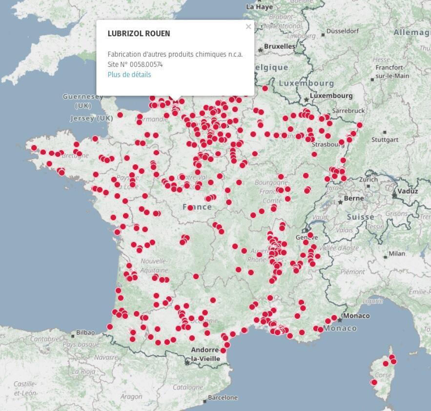 Carte des site Seveso seuil haut, en France, publiée par le site gouvernementale data.gouv.fr