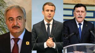 Emmanuel Macron réunit à La Celle Saint-Cloud, mardi 25 juillet 2017, le général Khalifa Haftar et le Premier ministre libyen Fayez al-Sarraj.