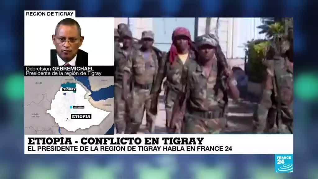 Debretsion Gebremichael, presidente del Frente de Liberación Popular del Tigray (TPLF) en Etiopía, durante una llamada a France 24, el 5 de diciembre de 2020.