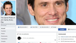 "Capture d'écran de la page Facebook ""The Same Photo of Jim Carrey Everyday"""