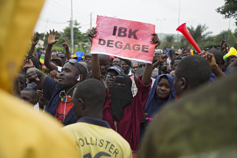 Manifestation à l'initiative du M5-RFP le 11 août 2020 au Mali.