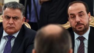 Des représentants de l'opposition syrienne, photographiés à Moscou, le 22 janvier 2018.