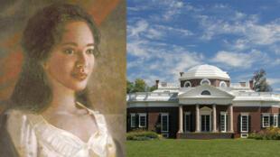Une vision d'artiste de Sally Hemings, et la maison de Monticello de Thomas Jefferson, aujourd'hui restaurée.
