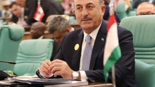 """Turkish Foreign Minister Mevlut Cavusoglu (pictured June 1, 2019) said the Syrian regime's """"guarantors"""" are Russia and Iran"""