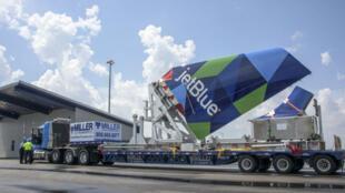 Des composants pour une Airbus A320 arrive à Mobile, aux États-Unis, où l'avion doit être assemblé.