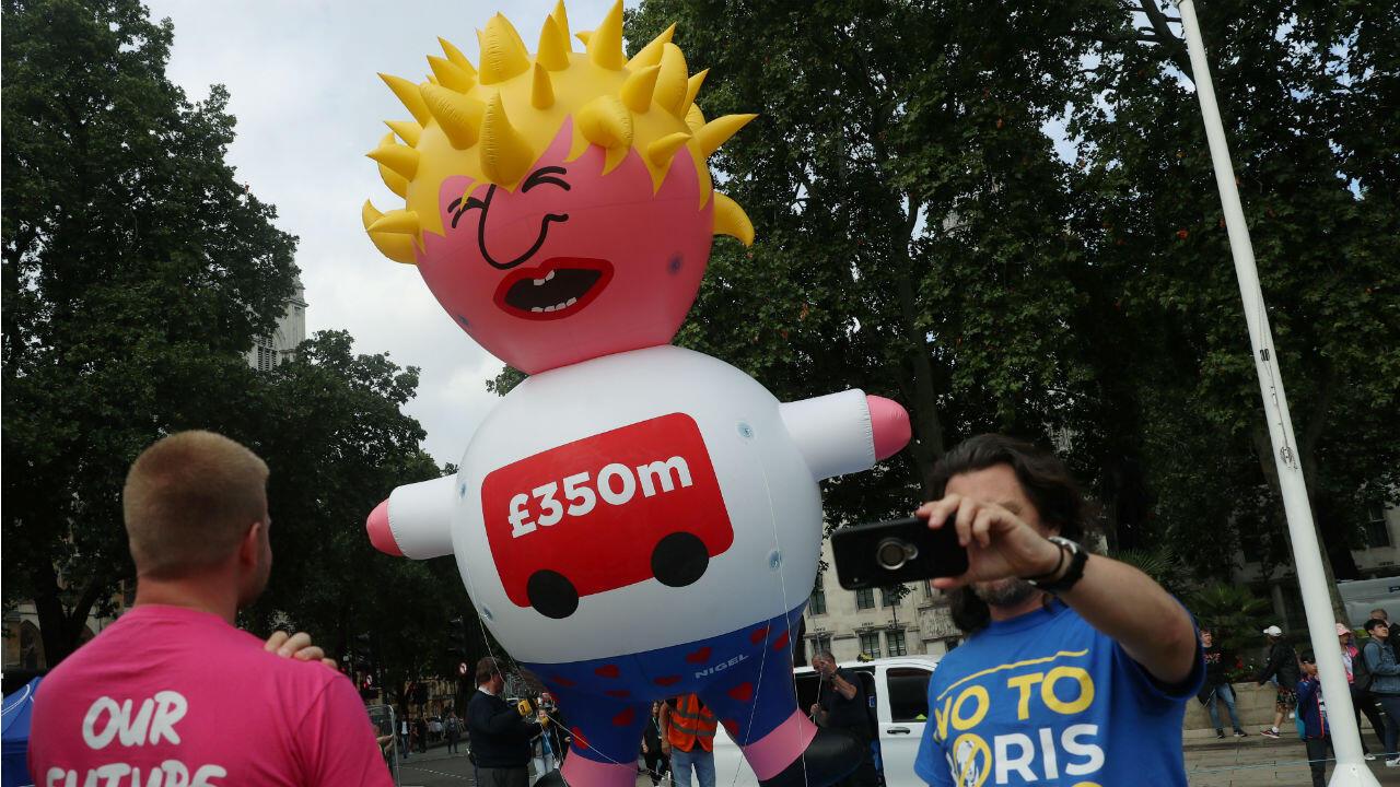 Un ballon à l'effigie de Boris Johnson avait déjà flotté au dessus de Londres lors d'une manifestation ant-Brexit, le 20 juillet.