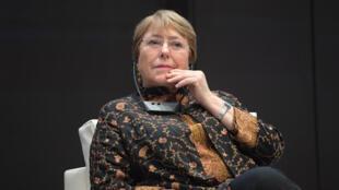"""La alta comisionada para los DD. HH. de Naciones Unidas, Michelle Bachelet, se dirige a un simposio titulado """"AHD al-Aman"""" en la capital tunecina, Túnez, el 13 de junio de 2019."""