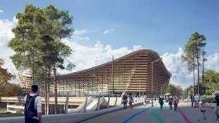 Projection du futur Centre aquatique des JO-2024, fournie par la Metropole du Grand Paris