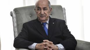الرئيس الجزائري عبد المجيد تبون في الجزائر في 21 كانون الثاني/يناير 2020