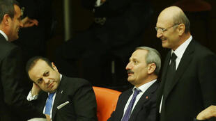 Three of the ex-ministers who were accused of graft: Former economy minister Zafer Caglayan,(C), former European affairs minister Egemen Bagis, (L), and former environment minister Erdogan Bayraktar,(R)