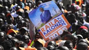 Des partisans du vétéran de l'opposition, Raila Odinga, lors d'un meeting le 3 août.