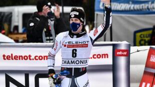 Le Français Clément Noël, vainqueur du slalom de Coupe du monde, le 30 janvier 2021 à Chamonix