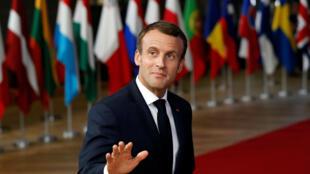 El presidente francés, Emmanuel Macron, llega a una cumbre de líderes de la Unión Europea en Bruselas, Bélgica, el 17 de octubre de 2018.