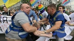 More than 8,000 people turned out for Kiev's Gay Pride march amid tight security as far-right activists sought to disrupt the celebration
