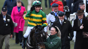 Barry Geraghty, on Saint Roi, celebrates after winning the Randox Health County Handicap Hurdle Race at the Cheltenham Festival in March this year