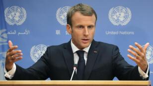 Emmanuel Macron lors d'une conférence de presse à l'ONU le 25 septembre 2018.
