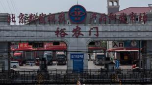L'entrée du marché de Xinfadi, fermé depuis l'apparition de nouveau cas de coronavirus, le 19 juin 2020 à Pékin