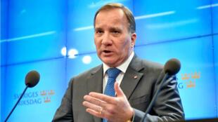 El líder de los Socialdemócratas de Suecia, Stefan Löfven, durante la conferencia de prensa en el Parlamento sueco en la ciudad de Estocolmo. Octubre 29 de 2018.