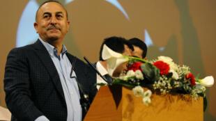 Le ministre turc des Affaires étrangères, Mevlut Cavusoglu, en meeting à Metz (Moselle), le 12 mars 2017.