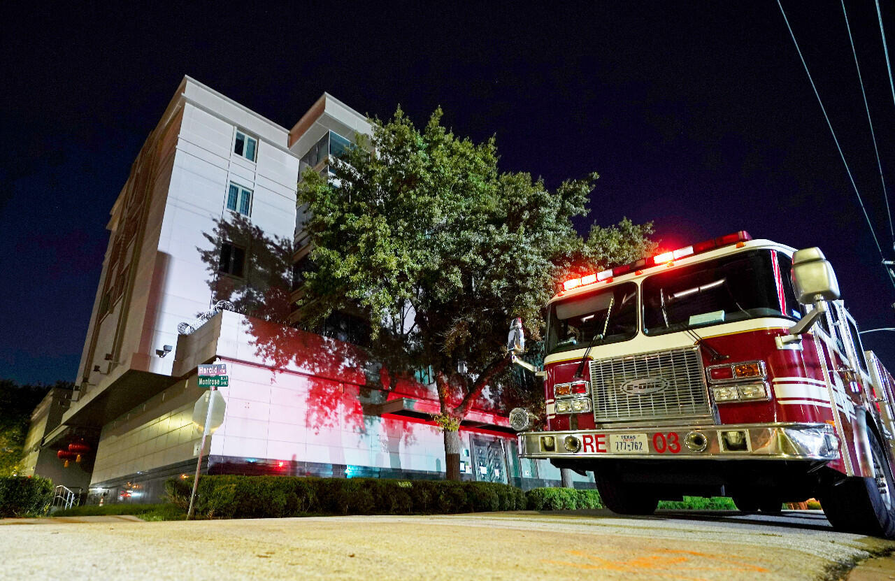 A firetruck outside the Chinese consulate in Houston, Texas, on Wednesday, July 22, 2020, as authorities responded to a fire report on the premises.