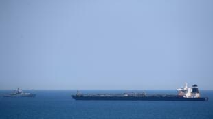 ناقلة النفط غريس 1 المحملة بالنفط الخام إلى سوريا بعد احتجازها قبالة ساحل جبل طارق في 4 يوليو/تموز 2019.