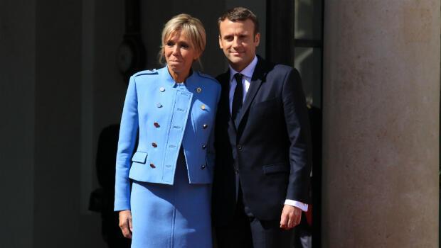 Pierre René-Worms. Brigitte and Emmanuel Macron at the Elysée Palace, Paris, 14 May 2017.
