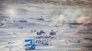صورة نشرتها القوات الملكية المغربية على صفحتها في فيس بوك في 13 نوفمبر/تشرين الثاني 2020، ويظهر فيها مقاتلون صحراويون في منطقة الكركرات بالصحراء الغربية.