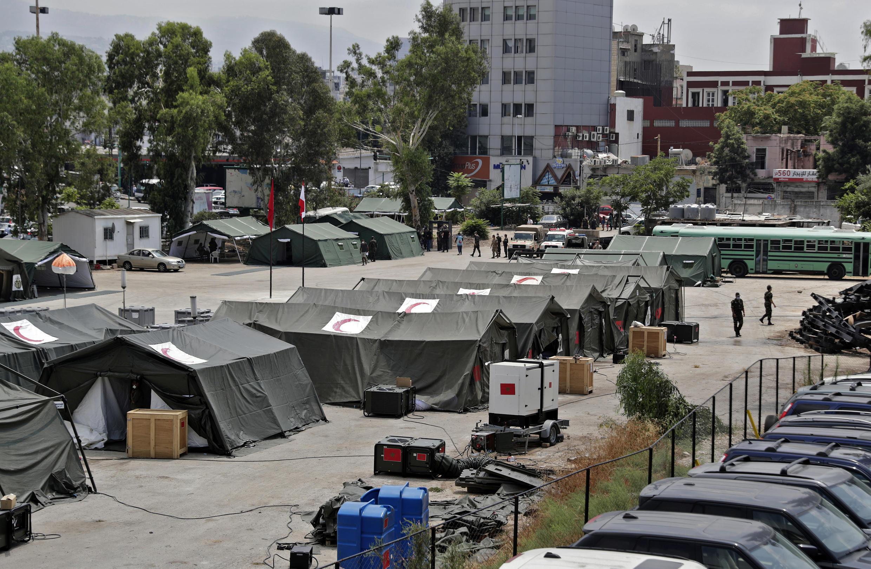 Hôpital de campagne marocain installé près du port de Beyrouth, le 12 aout 2020.