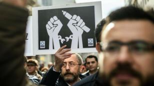 Photo d'archive. Manifestation pour la liberté de la presse à Istanbul en janvier 2016.