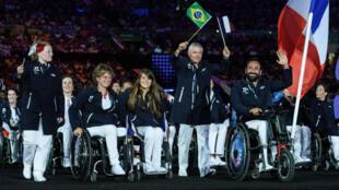 La délégation française lors de l'ouverture des Jeux Paralympiques de Rio, le 7 septembre 2016.