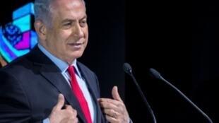 رئيس الوزراء الإسرائيلي بنيامين نتانياهو في تل أبيب في 14 شباط/فبراير 2018.