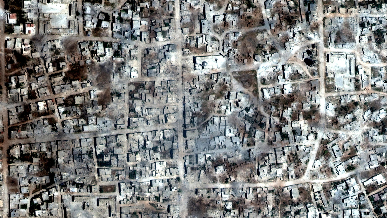 Imagen satelital de Kafr Nabudah, provincia de Idlib, Siria, 26 de mayo de 2019.