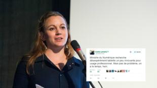 """Axelle Lemaire, secrétaire d'État au numérique, à la recherche d'une """"tablette un peu innovante"""" sur Twitter."""