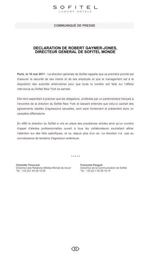 Déclaration du DG de Sofitel Monde