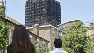 L'incendie de la tour Grenfell, à Londres, a fait au moins 79 morts le 14 juin 2017.
