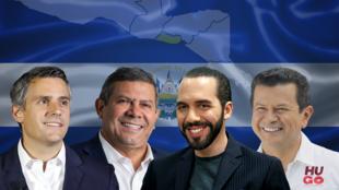 Los candidatos presidenciales de El Salvador en orden: Juan Carlos Callejas de Arena, Josué Alvarado Flores del partido Vamos, Nayib Bukele de GANA y Hugo Martínez Bonillla del FMLN.
