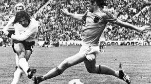 Gerd Mueller scores the winning goal for West Germany in the 1974 World Cup final against the Netherlands
