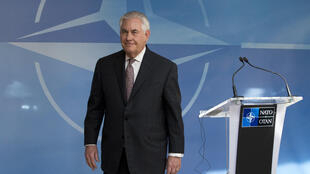 US Secretary of State Rex Tillerson leaves the stage after addressing the media at NATO headquarters in Brussels on March 31, 2017.