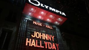 L'hommage de l'Olympia à Johnny Hallyday, le 8 décembre 2017.