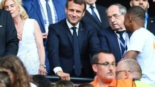 French President Emmanuel Macron met Kylian Mbappe and talked to television before the women's World Cup final kick off in Lyon
