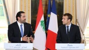 سعد الحريري مع إيمانويل ماكرون في باريس في 1 أيلول/سبتمبر 2017.