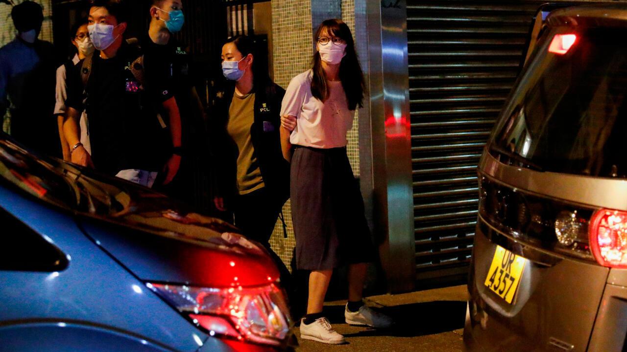 La activista Agnes Chow fue detenida en la noche del 10 de agosto de 2020 en Hong Kong.