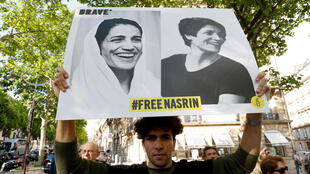A protest in support of detained Iranian lawyer and rights activist Nasrin Sotoudeh outside the Iranian embassy in Paris in June 2019