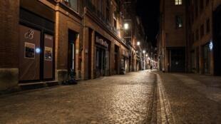 Une rue de Toulouse le 24 octobre 2020 pendant le couvre-feu