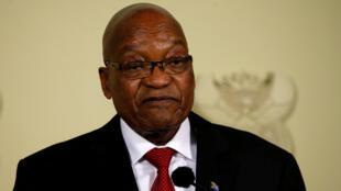 Jacob Zuma lors de l'annonce de sa démission de la présidence de l'Afrique du Sud, à Pretoria, le 14 février 2018.