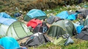 """Des tentes de migrants dans la nouvelle """"jungle"""" de Calais, le 21 octobre 2015."""