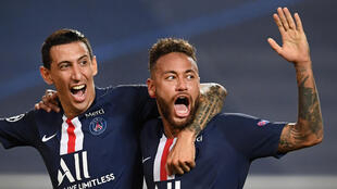 Angel Di Maria celebrates with Neymar after scoring PSG's second goal in their 3-0 win over RB Leipzig in Tuesday's Champions League semi-final in Lisbon
